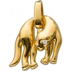 Panther Anhänger Sterling Silber 925 3 Mikronen vergoldet  Zirkonia groß