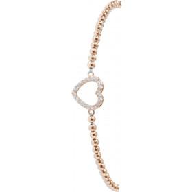 T-Y Armband 925er Sterling Silber rotvergoldet Herz Zirkonia