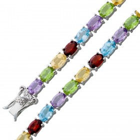 Armband - Edelsteinarmband Sterling Silber 925 Peridot Citrin Amethyst Granat Blautopas