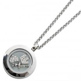Medaillon Medallion Set Edelstahlkette 3 Charms Kette 60cm Sammelsystem