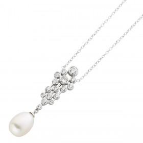 Perlenkette Sterling Silber 925 Ankerkette Zirkonia