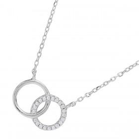 JOANLI NOR Halskette Anna Sterling Silber 925 Länge verstellbar Doppel Ringe rhodiniert klare Zirkonia