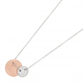 JOANLI NOR Halskette Bella Sterling Silber 925 rose vergoldet bicolor klare Zirkonia