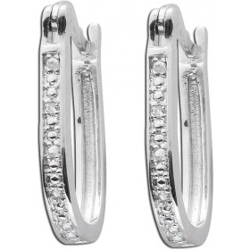 Ohrringe - Creolen rhodiniertem Sterling Silber poliert 10 Diamanten