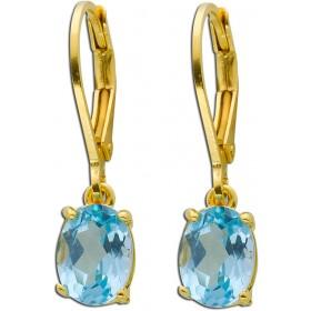 Ohrringe - Blautopasohrhänger Sterling Silber 925 gelb vergoldet