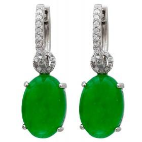 Ohrringe - Klappcreolen Sterling Silber 925/- mit grünem Quarz und Zirkonia