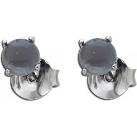 Ohrringe Ohrstecker Sterling Silber 925 rhodiniert schwarzer Mondstein Ø 5mm