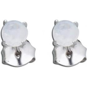 Ohrringe Ohrstecker Sterling Silber 925 rhodiniert regenbogenfarbener Mondstein Ø 5mm