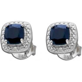 Ohrringe Ohrstecker Sterling Silber 925 nachtblauer Saphir Diamant