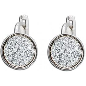 Ohrringe Scharniercreolen Sterling Silber 925 Glitzerpartikel