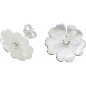 Blumenohrstecker Ohrstecker Perlmutt Blume mit Zirkonia, Silber 925