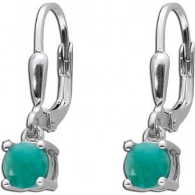 Smaragd Ohrringe Sterling Silber 925 grüne facettierte Smaragde