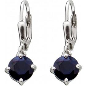 Brisurohrhänger Sterling Silber 925 nachtblauen Saphiren