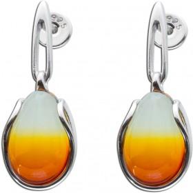 Bernsteinohrhänger Sterling Silber 925 cognacfarben tropfenförmig Cabochon