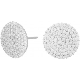 JOANLI NOR Ohrstecker Bell Sterling Silber 925 rhodiniert Kreis klare Zirkonia