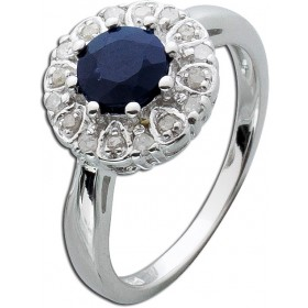 Safir Ring Sterling Silber 925  Diamanten
