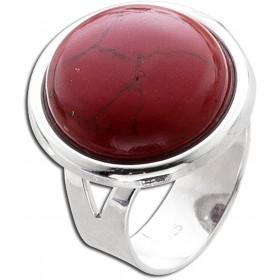 Ring in Silber - Sterling Silber 925/- mit rekonstuierter Koralle