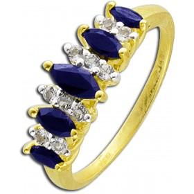 Ring in Silber Sterlingsilber 925 Safiren und weiße Topas