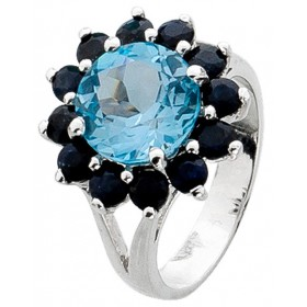 Ring Sterling Silber 925 Blautopas 12 Saphire Edelsteinen