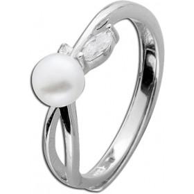 Ring Sterling Silber 925 rhodiniert Süßwasserzuchtperle Zirkonia