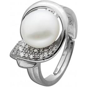Ring Sterling Silber 925 Süßwasserzuchtperle Zirkonia rhodiniert