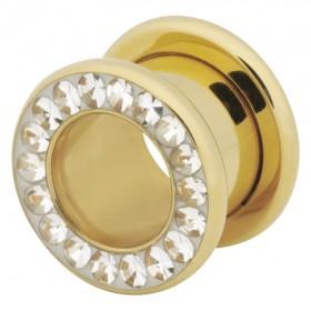 Piercing Tunnel 3 bis 20mm Durchmesser Chirurgenstahl 316L PVD gelb gold klare Swarovski Kristalle