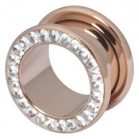 Piercing Tunnel 3 bis 20mm Durchmesser Chirurgenstahl 316L PVD rose gold klare Swarovski Kristalle