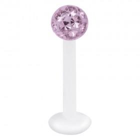Piercing Labret hautverträglicher Kunststoff Stab 1,2mm Stärke heller amethyst