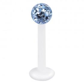 Piercing Labret hautverträglicher Kunststoff Stab 1,2mm Stärke hellblau