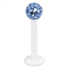 Piercing Labret hautverträglicher Kunststoff Stab 1,2mm Stärke light saphire