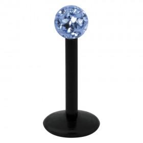 Piercing Labret hautverträglicher Kunststoff Stab schwarz 1,2mm Stärke light Saphire