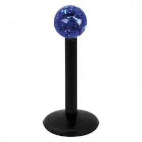 Piercing Labret hautverträglicher Kunststoff Stab schwarz 1,2mm Stärke Saphirblau