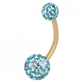 Piercing Bananabell Titan IP gold hellblaue Kristalle Stabstärke 1,6mm Kugeln 4/6mm Stablänge 12mm Bauchnabel