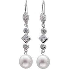 Ohrringe - Ohrhänger Sterling Silber 925 Zirkonia Perlen synthetische