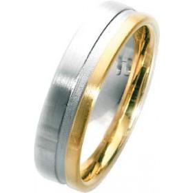 Trauring in Weißgold 585/- + Gelbgold 585/-, Breite 6,0mm, Stärke 1,9mm, der Ring ist matt poliert, die Gravur der Trauringe sowie das Etui erhalten Sie kostenlos und bei diesen einfarbigen Trauringen - Eheringen ist auch der kostenlose Auffrischungsservi