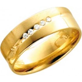 Trauring aus Gelbgold 585/- (14 Karat) mit 5 Brillanten 0,050ct W/SI besetzt. Breite 6,0mm, Stärke 1,2mm